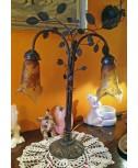 Lampada stile Liberty a due tulipe
