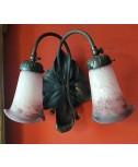 Applique Fior di loto a due steli completa di tulipe in vetro