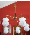 Lampadario in ottone a cinque luci a spirale