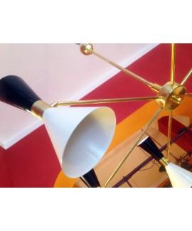 Lampadario in ottone a cinque coni