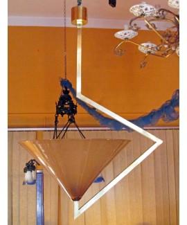 Lampadario in ottone con vetro di Murano