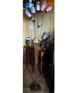 Lampada da terra a sette steli completa di tulipe in vetro